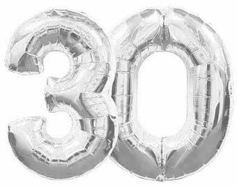 "Giant 40"" inch 30 Balloon Number, Silver,  Birthday Balloon, Dirty Thirty, Birthday Party, 30th Birthday, Anniversary, Balloon Banner"