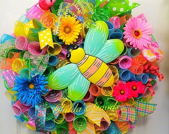 Spring Wreath, Spring Mesh Wreath, Colorful Wreath, Spring Decor, Easter Wreath, Summer Wreath, Summer Decor, Summer Mesh Wreath