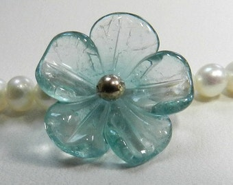 Freshwater pearl neacklace, AAA, 3-4 mm, with an aquamarine flower