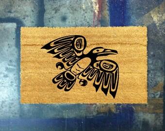 Native Crow Coconut Door Mat - Hand Painted