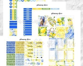 Sparkling Lemon printable planner stickers /EC vertical weekly kit / ECLP / pdf, jpg, cut files