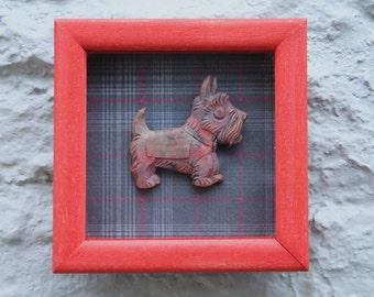 1930s Framed Bakelite or Lucite Scottie Dog Brooch