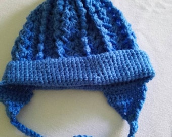 Baby boys beautiful blue ear flap hat  3-6 months, all colours available and other sizes, free UK delivery, made to order