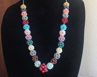 Rainbow Bead Pom Pom Necklace