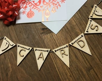 Cards Bunting, Wedding Cards  Bunting, Cards Flags, Celebration Bunting, Wedding Favours, Wedding Decoration, Letter Bunting, Rustic Garland