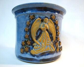 Ceramic Pottery Garden Pot Plant Pot - Blue Stars and Angel