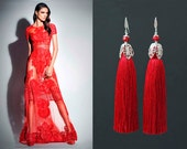 Red Silk Tassel Earrings with Ruby Beads and 925K Sterling Silver CZ Crystal Ear Wire.