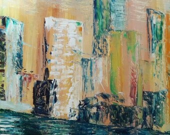 City lights on the water painting, night scene of a city, lights on water, fictitious city scene