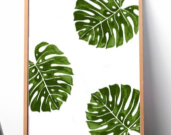 Palm Leaf Print, Palm Leaf Art Print, Greenery Leaf Print, Palm Leaf Art, Greenery Art, digital Leaf print, digital palm leaf, Large Prints