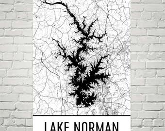 Lake Norman NC, Lake Norman North Carolina, Davidson NC Map, NC Decor, Lake Map, Norman Lake Art, Art, Cottage Decor, Fishing, Cabin, Lake