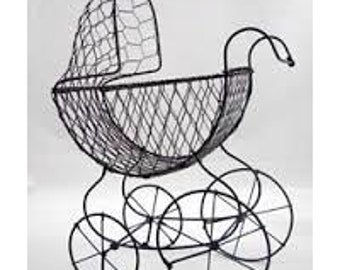 """Wire Baby carriage, old fashion stroller, baby buggy, antique baby carriage, baby carriage. Baby shower carriage. 9"""" tall"""