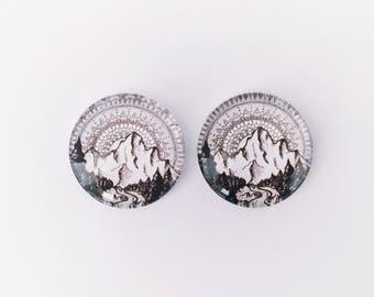 The 'Black Mountain' Glass Earring Studs