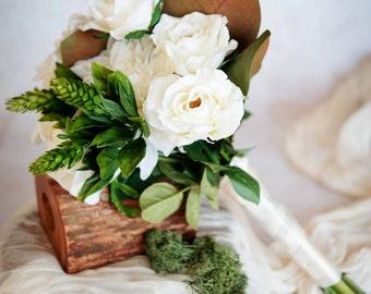 White Dahlia and Garden Rose Bouquet