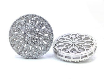 Hollow Flower  tassel head Micro paved , CZ Micro Pave bead for Beading,white gold plated, 24mm 1pc