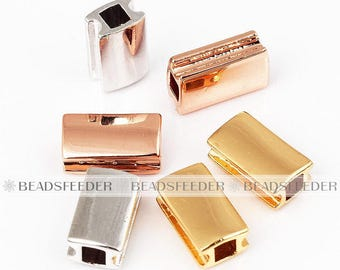 5pcs Rectangular beads for Adjustable Sliding Knot Closure bracelet ,cooper based, space beads, black/gold/silver/rosegold plated,10mm 1pc