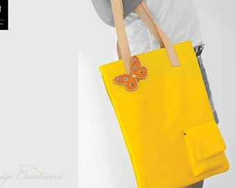 Tote bag, Handmade, Yellow Handbag, City Bag, Shopping Bag, Unique, Colortherapy collection!