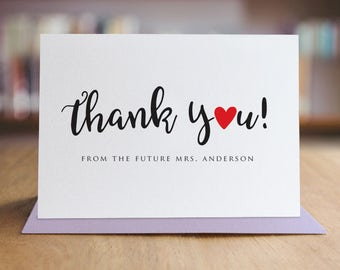 Personalized Thank You Note Card Set /  Calligraphy Thank You Cards / Modern Stationery / Folded Shimmer Note Cards - T311