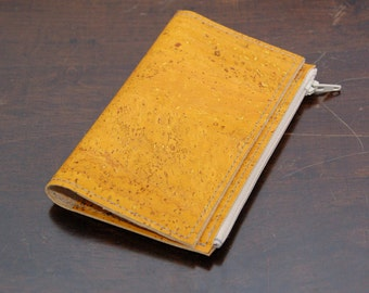 Yellow colored cork wallet insert - Made to order