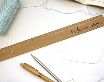 Personalized wooden ruler, unique desk accessory, personalization, text engraved on demand, original, unique birthday christmas gift