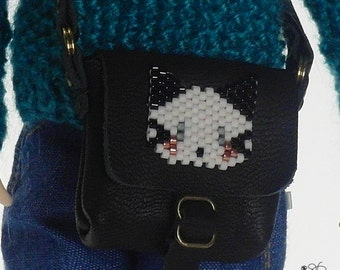 Blythe doll bag, leather shoulder bag, black leather, handwoven miyuki beads, cat embellishment on black leather bag