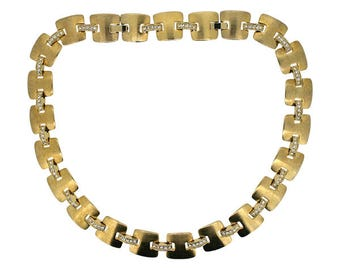 Monet 1990s Gold Plated Panel and Diamante Link Vintage Necklace