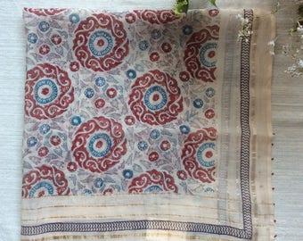 India Blockprint Square Scarf インドハンドブロックプリント スカーフ