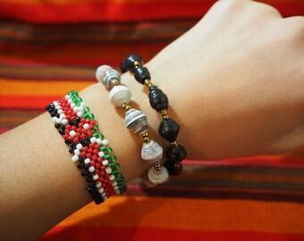 African Paperbeads Bracelet Black White