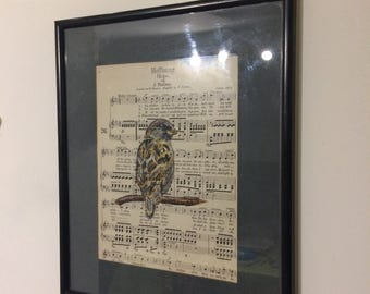 Sparrow illustration on Vintage sheet music