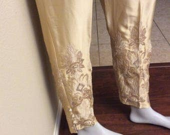 Sale Silk embroidered pants,sequence embroidered pants