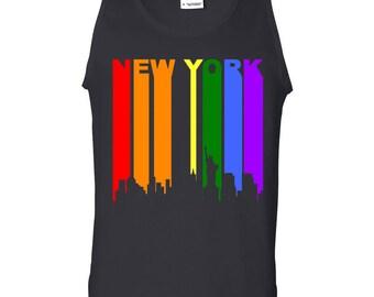 New York City Downtown Rainbow Skyline LGBT Gay Pride Tank Top