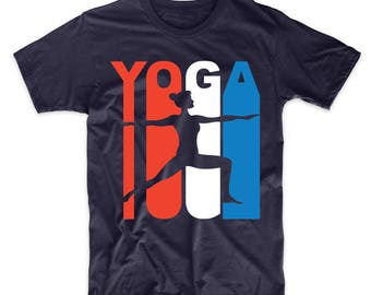 Retro Style Red White And Blue Yoga T-Shirt