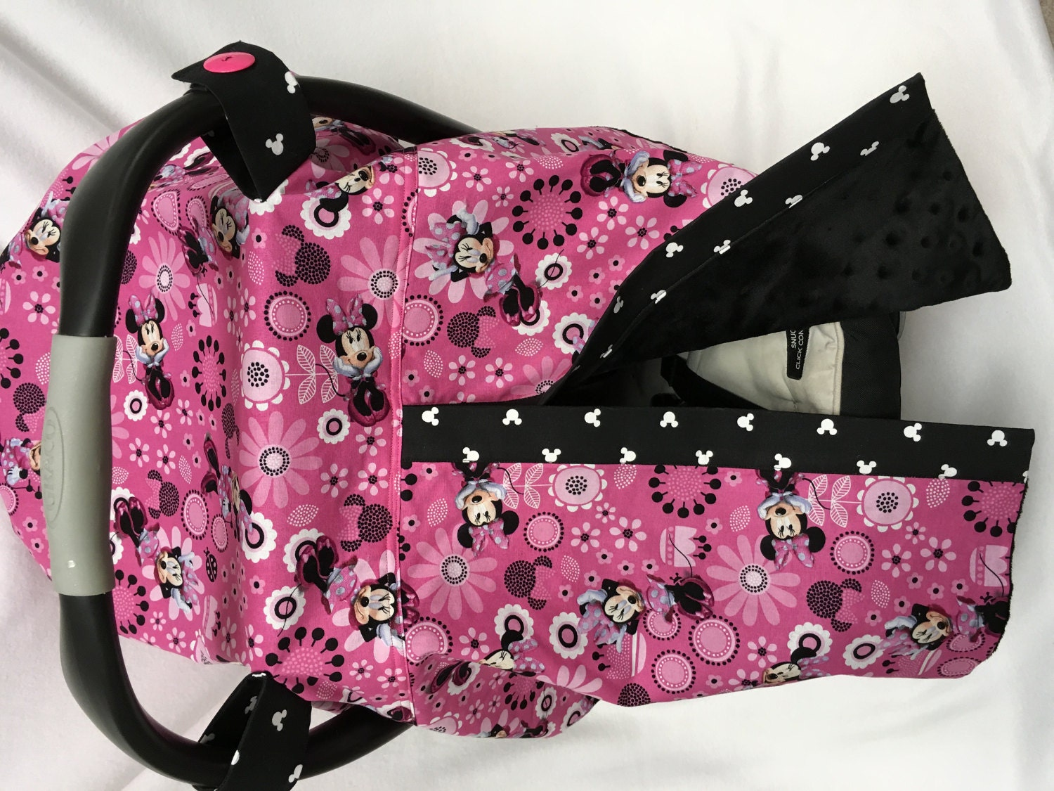 Baby Car Seat Cover Canopy Pink Minnie Mouse Fabric Canopy