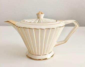 30% SALE! Vintage Sadler teapot, Art Deco lampshade shape, 1930s