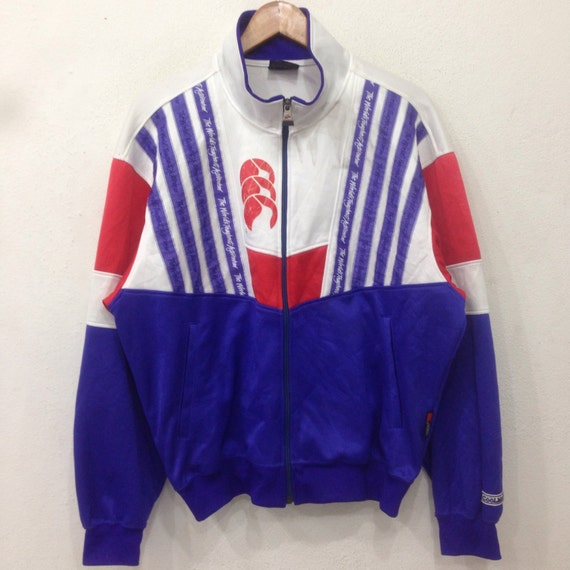Rare!! Vintage CANTERBURY of New Zealand Sweater Multicolor Big Logo Spellout Large Size