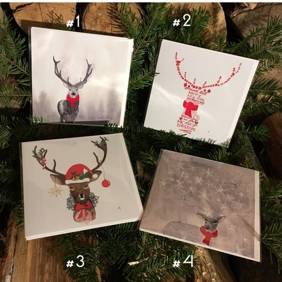 "Lot of 4 ""Red Christmas"" greeting cards handmade watercolor * 4 pack greetings cards ""Red Christmas 2"" handmade watercolor"