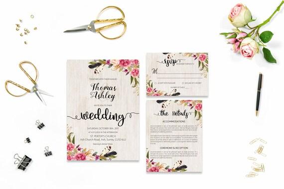 Flower wedding invite_16,Printable Wedding Invitation Suite,Wedding Invite Set,Wedding Printable,Calligraphy