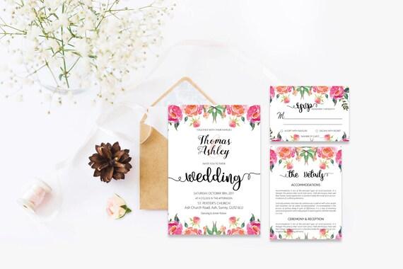 Flower wedding invite_19,Printable Wedding Invitation Suite,Wedding Invite Set,Wedding Printable,Calligraphy
