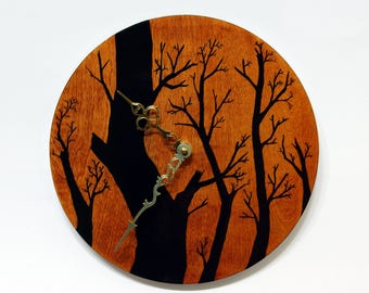 Winter Trees Hand Painted Silent Wall Clock