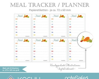 Meal Tracker, meal planner, labels, stickers, NoteSafe5, bullet journal, Scheduler