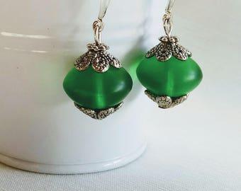 Green glass earrings Dangle & Drop earrings Free shipping
