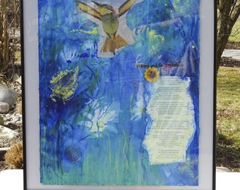 Mixed Media Collage Art | Blue Flower Spiritual | Bird in Rainforest Multimedia Collage Painting with German Meditation Text | Gift | Art