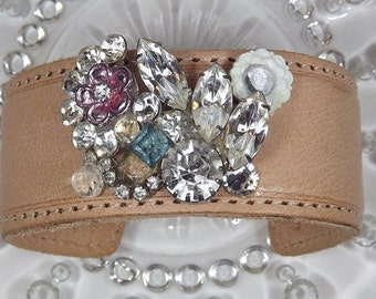 Adjustable Leather Cuff Bracelet with Vintage Crystals