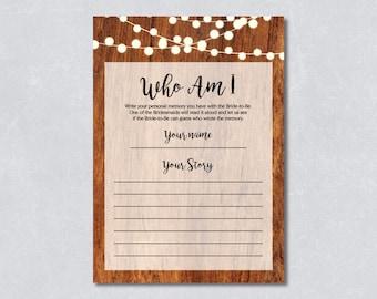 Who am I / Bridal shower game / Rustic wooden / String light / DIY Printable / INSTANT DOWNLOAD