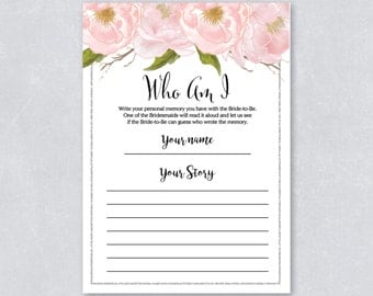 Who am I / Bridal shower game / Blush watercolor floral / Silver Glitter / DIY Printable / INSTANT DOWNLOAD