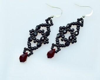 SALE! Beadwoven black earrings, Red Swarovski crystal, Black crystal earrings, Earrings for women, Handmade earrings