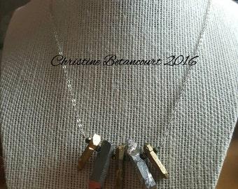 Dripping Metal Pyrite Gemstone Bead Necklace