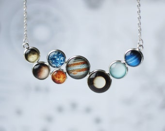 SALE 30% off - Solar System Necklace Space Inspired Jewelry Planets Aligned Silver Statement Necklace