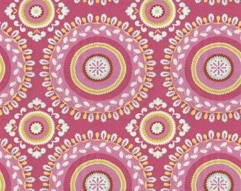 Handmade Table Runner 13W x 36L in Pink/Yellow/Fushia Medallion Print, Home Decor