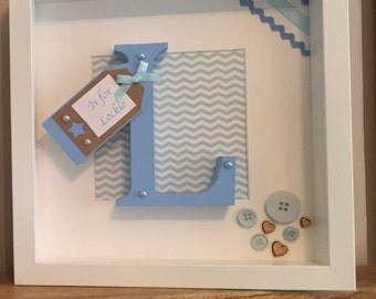 Wooden Initial New Baby frame with tag