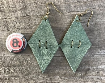 2 inch Leather/Suede Double Triangle Earrings in Mint Green